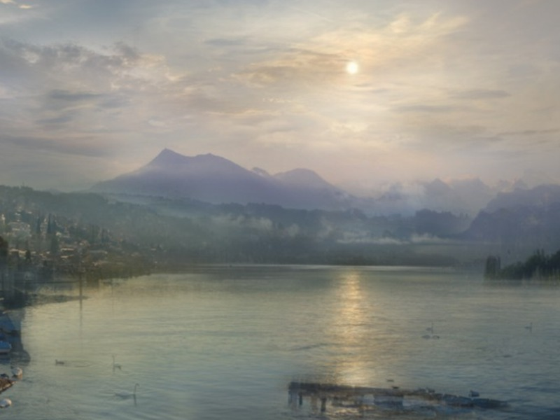 Moonlight on Lake Lucerne